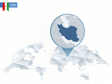 Abstract rounded World Map with pinned detailed Iran map. Vector Illustration.