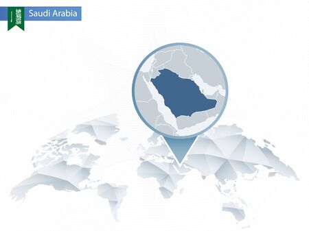 Abstract rounded World Map with pinned detailed Saudi Arabia map Çizim