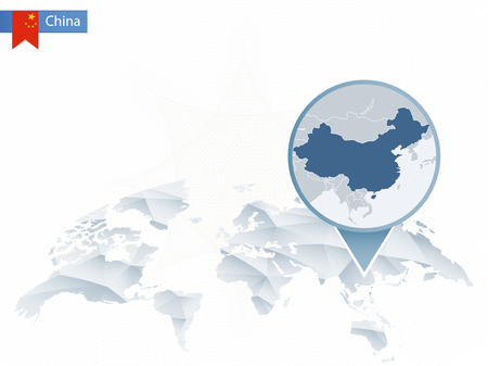 Abstract rounded World Map with pinned detailed China map Illustration