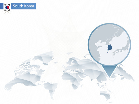 Abstract rounded World Map with pinned detailed South Korea map Illustration