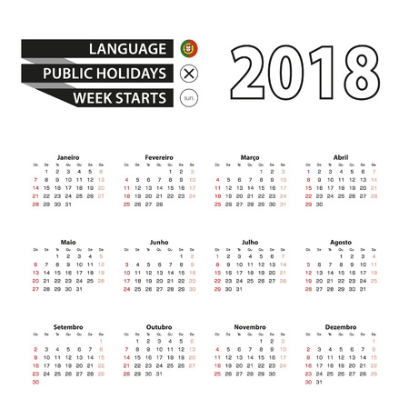 2018 calendar in portuguese language week starts from sunday vector illustration stock vector