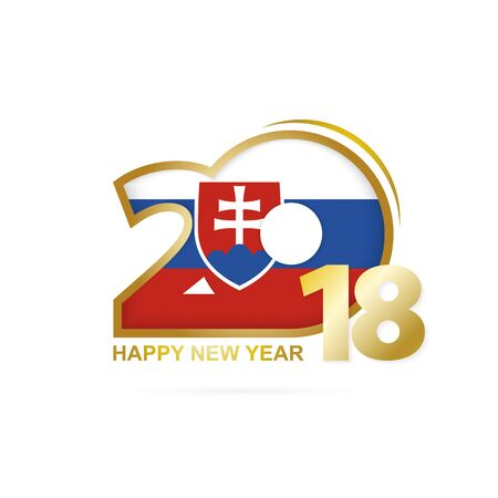 Year 2018 with Slovakia Flag pattern. Happy New Year Design. Vector Illustration.