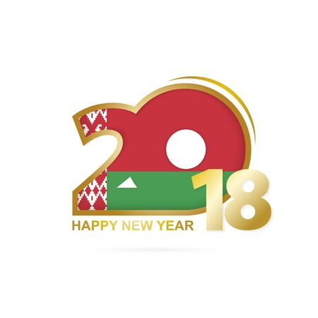 Year 2018 with Belarus Flag pattern. Happy New Year Design. Vector Illustration.