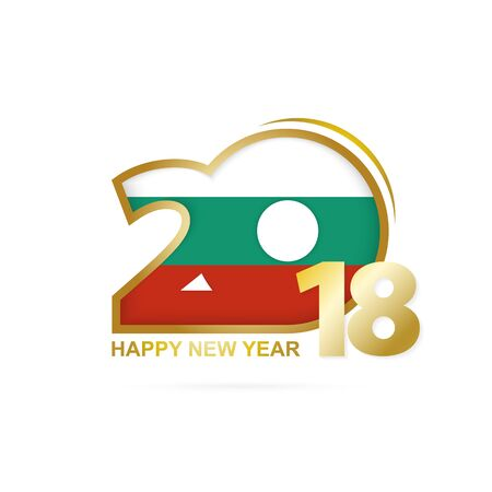 Year 2018 with Bulgaria Flag pattern. Happy New Year Design. Vector Illustration.