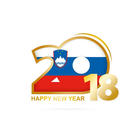 Year 2018 with Slovenia Flag pattern. Happy New Year Design. Vector Illustration.