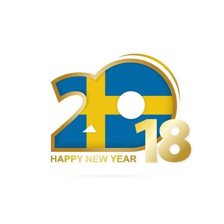 bandera de suecia: Year 2018 with Sweden Flag pattern. Happy New Year Design. Vector Illustration.