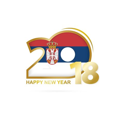 Year 2018 with Serbia Flag pattern. Happy New Year Design. Vector Illustration.