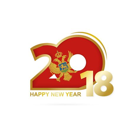 Year 2018 with Montenegro Flag pattern. Happy New Year Design. Vector Illustration.
