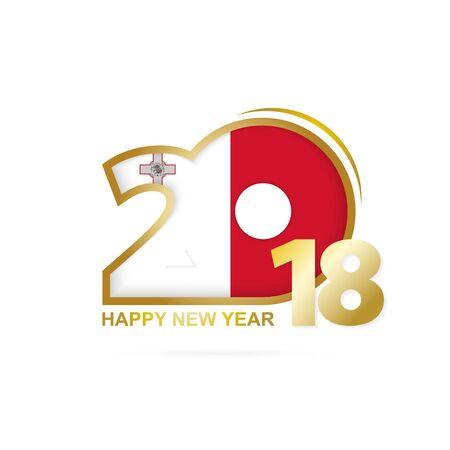 2018 년 몰타 플래그 패턴입니다. 행복 한 새 해 디자인입니다. 벡터 일러스트 레이 션.
