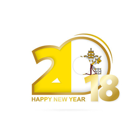 Year 2018 with Vatican City Flag pattern. Happy New Year Design. Vector Illustration.