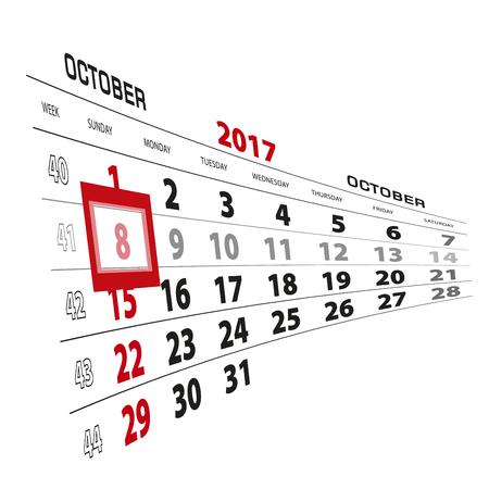October 8, highlighted on 2017 calendar. Week starts from Sunday. Vector Illustration. Illustration
