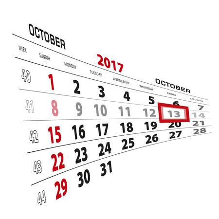 October 13, highlighted on 2017 calendar. Week starts from Sunday. Vector Illustration.