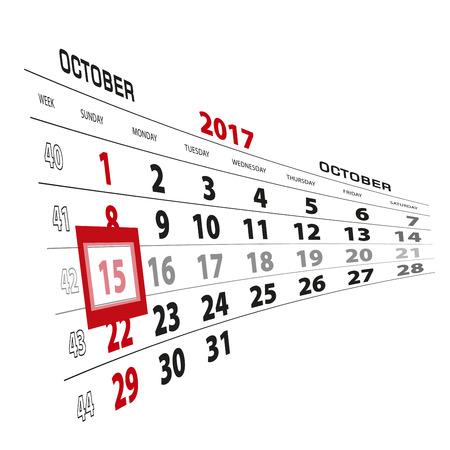 beginnings: October 15, highlighted on 2017 calendar. Week starts from Sunday. Vector Illustration. Illustration