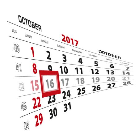 October 16, highlighted on 2017 calendar. Week starts from Sunday. Vector Illustration.