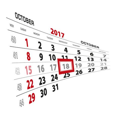 October 18, highlighted on 2017 calendar. Week starts from Sunday. Vector Illustration.