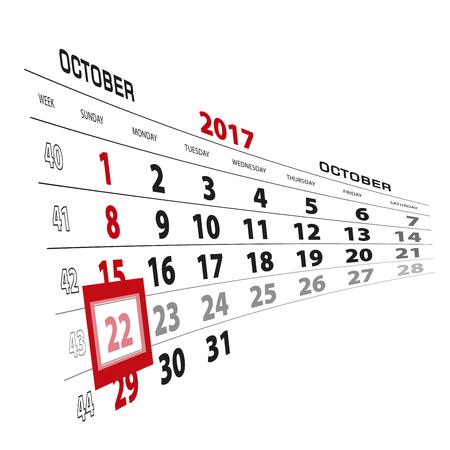 October 22, highlighted on 2017 calendar. Week starts from Sunday. Vector Illustration.