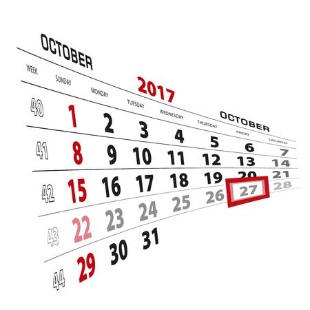 beginnings: October 27, highlighted on 2017 calendar. Week starts from Sunday. Vector Illustration. Illustration