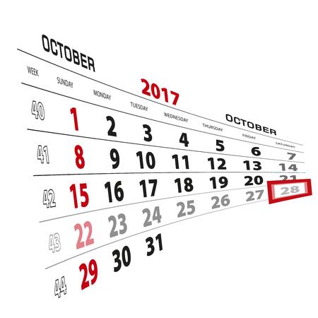 beginnings: October 28, highlighted on 2017 calendar. Week starts from Sunday. Vector Illustration. Illustration