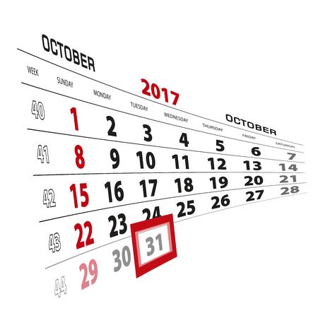 beginnings: October 31, highlighted on 2017 calendar. Week starts from Sunday. Vector Illustration.