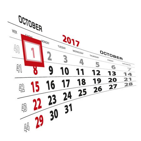 October 1, highlighted on 2017 calendar. Week starts from Sunday. Vector Illustration.