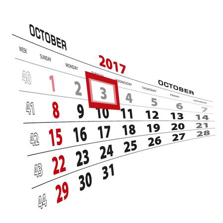 October 3, highlighted on 2017 calendar. Week starts from Sunday. Vector Illustration. Illustration