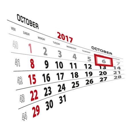 October 6, highlighted on 2017 calendar. Week starts from Sunday. Vector Illustration. Stock Vector - 87277798