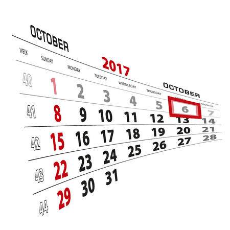 October 6, highlighted on 2017 calendar. Week starts from Sunday. Vector Illustration. Illustration