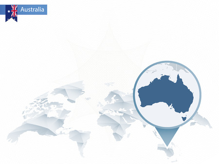 Abstract rounded World Map with pinned detailed Australia map. Vector Illustration.
