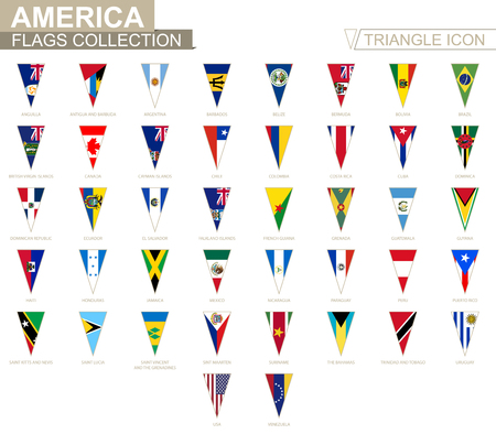 Flags of America, all American flags. Triangle icon.