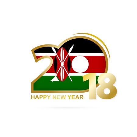 christmas greeting card: Year 2018 with Kenya flag design.