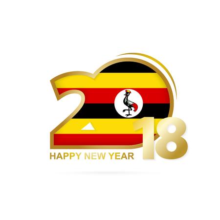 christmas greeting card: Year 2018 with Uganda flag design. Illustration