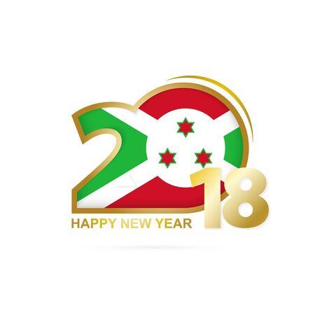 christmas greeting card: Year 2018 with Burundi flag design.