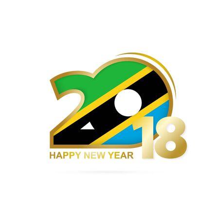christmas greeting card: Year 2018 with Tanzania flag design. Illustration