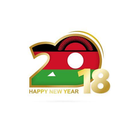 christmas greeting card: Year 2018 with Malawi flag design.
