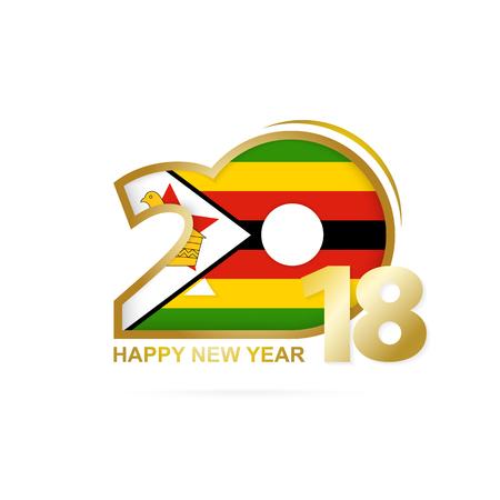 christmas greeting card: Year 2018 with Zimbabwe flag design. Illustration