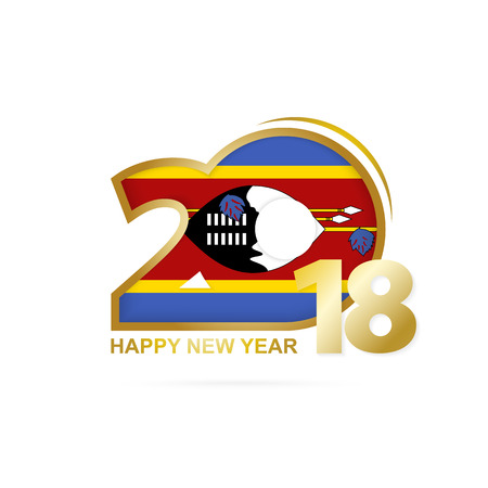 christmas greeting card: Year 2018 with Swaziland flag design. Illustration