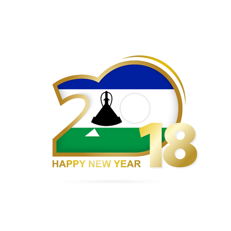 christmas greeting card: Year 2018 with Lesotho flag design.