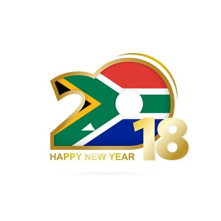 christmas greeting card: Year 2018 with South Africa flag design.