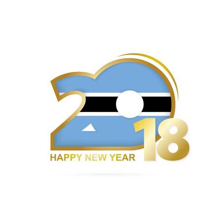 christmas greeting card: Year 2018 with Botswana flag design. Illustration