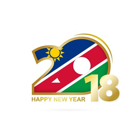 christmas greeting card: Year 2018 with Namibia flag design.