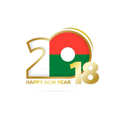 Year 2018 with Madagascar flag design. Illustration