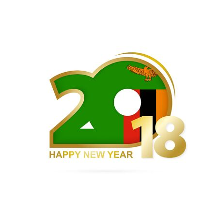 christmas greeting card: Year 2018 with Zambia flag design. Illustration