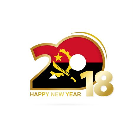 christmas greeting card: Year 2018 with Angola flag design. Illustration