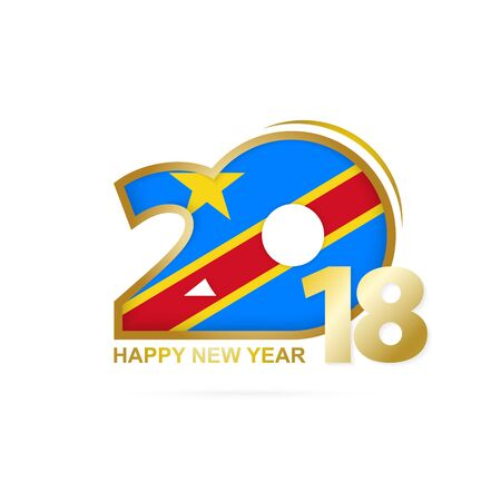 christmas greeting card: Year 2018 with DR Congo flag design. Illustration