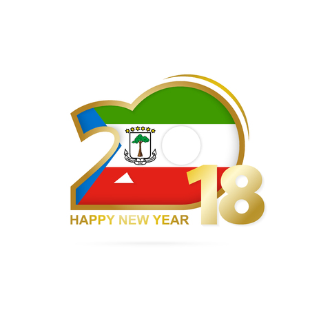 christmas greeting card: Year 2018 with Equatorial Guinea flag design.