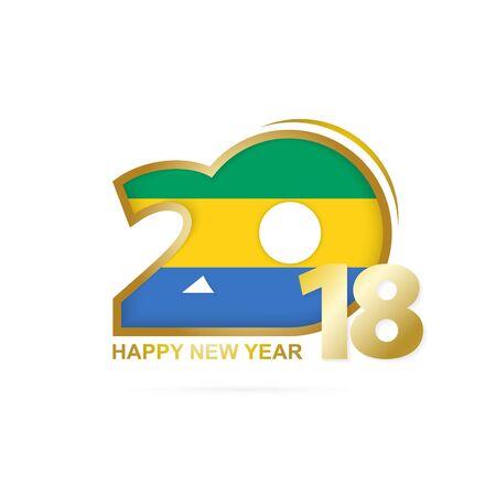 christmas greeting card: Year 2018 with Gabon flag design.