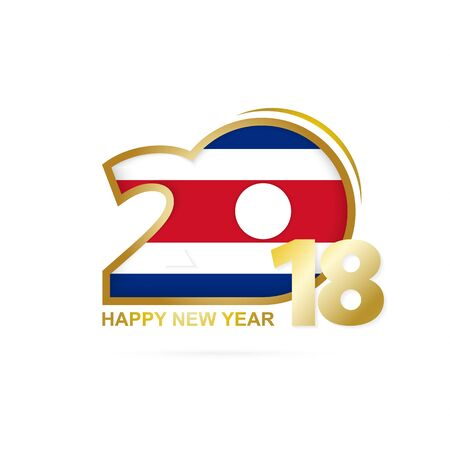 Year 2018 with Costa Rica flag pattern icon.