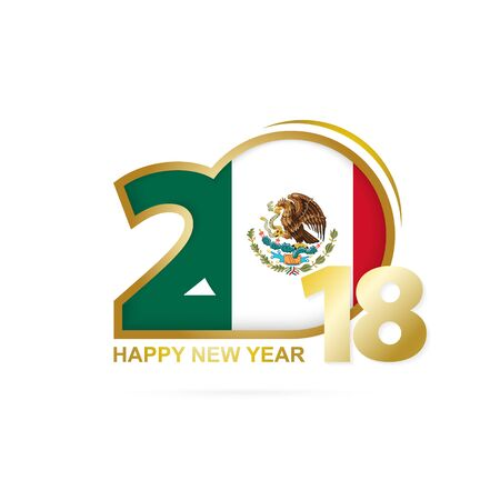 Year 2018 with Mexico flag pattern icon. Illustration