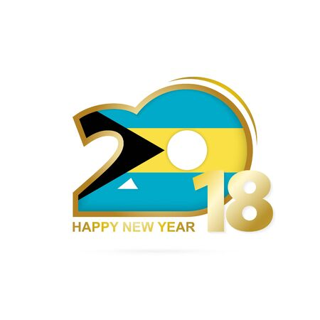 Year 2018 with The Bahamas flag pattern icon. Illustration