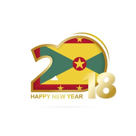 grenada: Year 2018 with Grenada flag pattern icon.